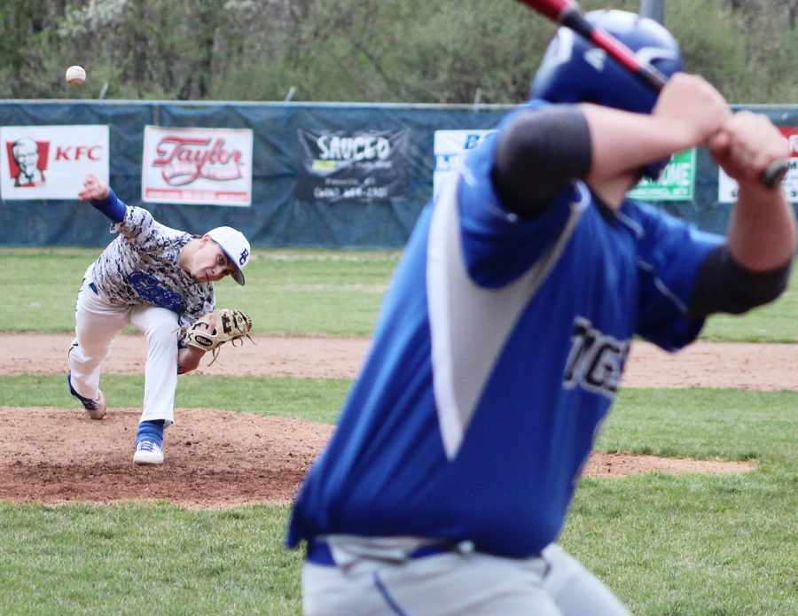 Jacob Smith delivered a pitch in action last season. Smith is expected to play shortstop and pitch for the Bobcats this season.