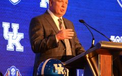 Kentucky coach Mark Stoops addressed reporters during SEC Media Days last year in Hoover, Alabama.