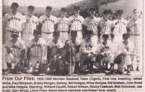 The Benham High School baseball team from 1960 is pictured. Benham won the district baseball title in 1960.