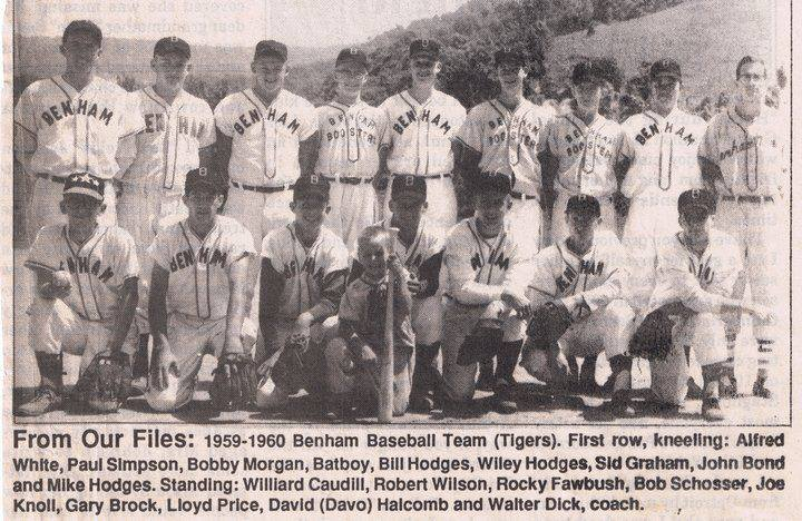 The Benham High School baseball team from 1960 is pictured. Benham won the district baseball title in 1960. Walter Dick was the team's coach and Bond was a second baseman and shortstop.