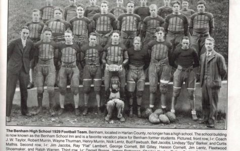 The Benham High School football team from 1929 is pictured.