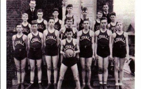 The Loyall High School basketball team of 1935 is pictured