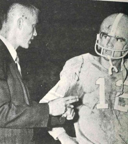 James A. Cawood quarterback Tim Saylor talked with coach Wendell Wheeler during the 1968 season.