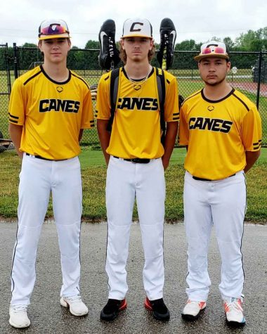 Three members of the Harlan County HIgh School baseball team are playing with the Canes Kentucky 15-and-under team out of Lexington this summer. Tristan Cooper (left), Brayden Blakley and Isaac Kelly helped Canes Kentucky win the Warren County Summer Slam Tournament in Cincinnati over the weekend. All three will be sophomores next season.