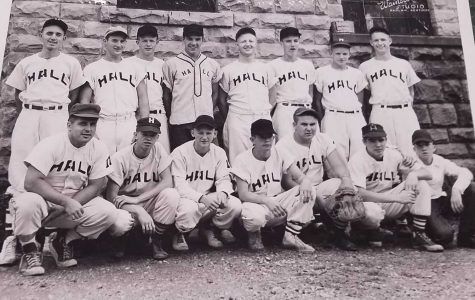 "Hall won the 13th Region baseball title in 1955 and finished as state runner-up. The Gamecocks won district titles in 1951, 1953 and 1955. Team members include, from left, front row: coach Roman Todoran, Charles ""Poss"" Adams, Estil ""Pedo"" Blanton, Joe Shephard, A.C. McKeehan, Parker Prince and Bill ""Wendy"" Williams; back row: Jackie Ray Morgan, Delmar Napier, Gillus ""Gil"" Adams, Wendell Hensley, Earl ""Red"" Hansel, James McCreary, Harold Sizemore and Carlyle ""Brownie"" Owens."
