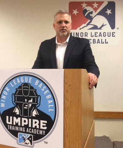 Jim Kirk, president of Ump-Attire.com, spoke at the Minor League Baseball Umpire Training Academy. Kirk