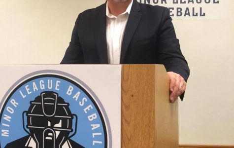 Jim Kirk, president of Ump-Attire.com, spoke at the Minor League Baseball Umpire Training Academy. Kirk's business was recently honored as one of the 20 best in Louisville.