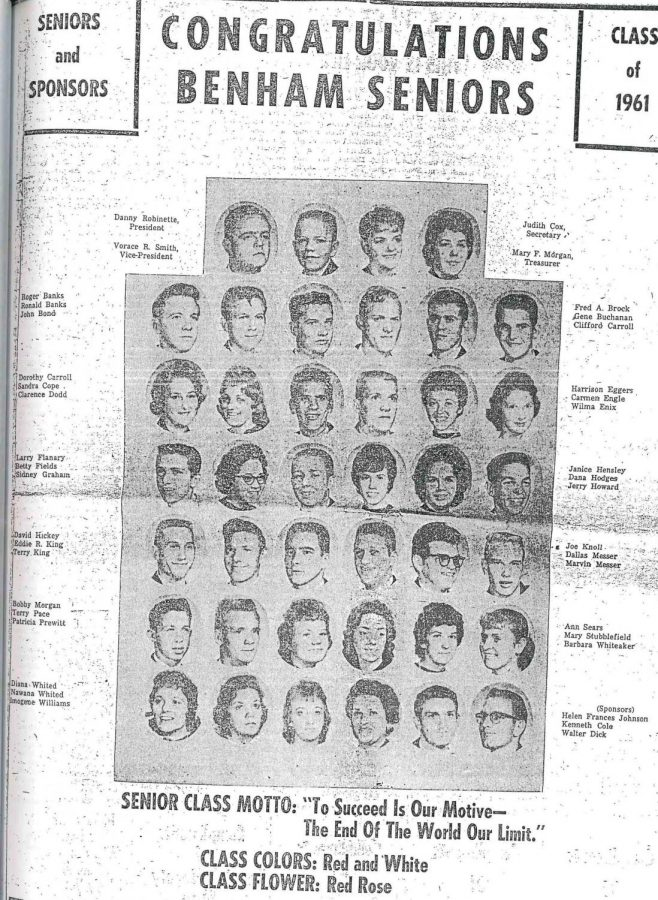 Members+of+Benham+High+School%27s+last+senior+class+of+1961+are+pictured.