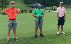 Harlan County High School golfer Brayden Casolari (center) was the winner earlier this week at the Winchester Country Club in the Kentucky PGA Junior Tour.