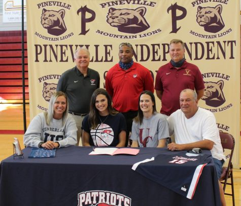 Pineville senior Whitney Caldwell signed with the University of the Cumberlands on Wednesday in a ceremony at the school. Pictured with Caldwell in the front row are her parents, Shannon and Ronnie Caldwell and Cumberlands assistant coach Olivia Farmer. The back row includes Cumberlands head coach Rick Reeves, assistant coach Jerton Edwards and Pineville coach Jamie Mills.