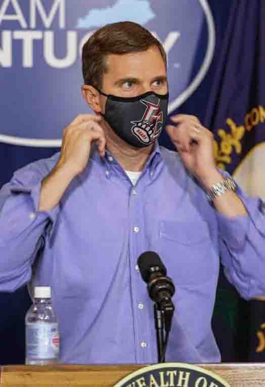 Governor+Andy+Beshear+wore+a+Harlan+County+Black+Bears+mask+during+his+press+conference+on+Friday.+It+was+reportedly+a+gift+from+friends+in+Harlan.