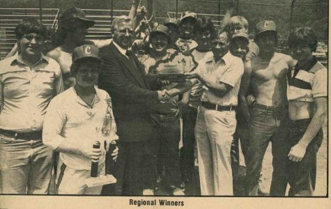 Cawood won its first and only regional baseball title in 1982, defeating Hazard in the 14th Region Tournament finals. The Trojans defeated Johnson Central in the sectional before falling a game short of the state final four with a loss to Middlesboro. Cawood High School Principal Josh Hensley is pictured presenting the championship trophy to coach Basil Mills. Other team members pictured include William Hatfield, David Hensley, Robbie Burns,  Jimmy Gross, Gregg Osborne, John Stepp, Buddy Howard Tracy Blanton, Eddie Hampton, Keith Hensley and Jack Hampton.