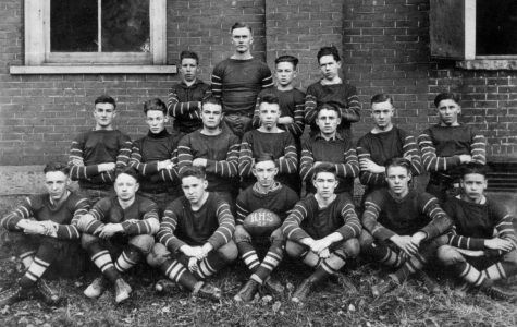 The 1920 Harlan HIgh School football team is pictured.