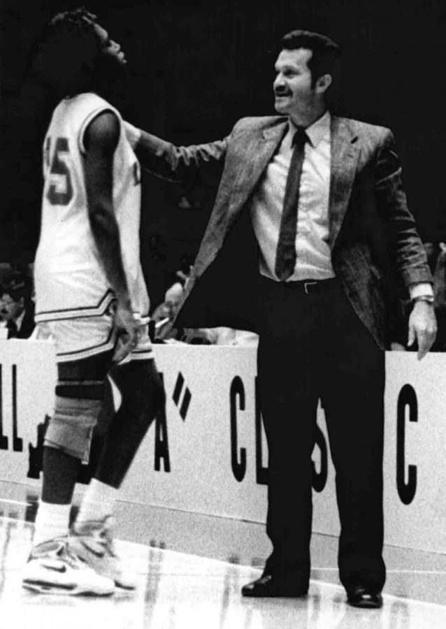 Cumberland+coach+John+Bond+talked+with+Nikki+Jackson+during+the+Lady+Skins%27+run+to+their+first+All+%22A%22+Classic+state+championship+in+1991+at+Memorial+Coliseum.