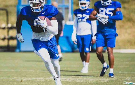 Kentucky receiver Josh Ali ran during practice on Tuesday afternoon.
