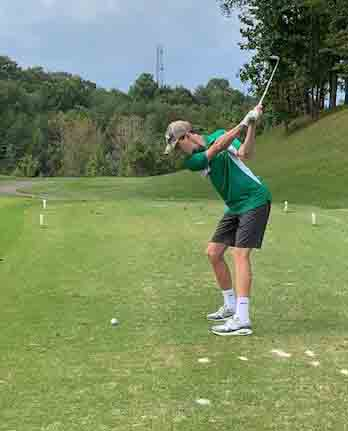 Harlan's Carson Murray is pictured as he teed off during the Region 10 Tournament at Somerset on Monday.
