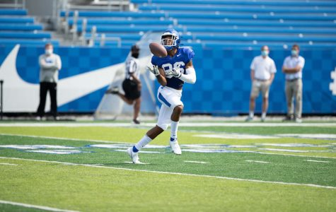 DeMarcus Harris made a catch during a scrimmage Saturday at Kroger Field.