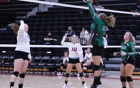 Harlan's Annie Hoskins went to the net for a point in action earlier this season. Hoskins and the Lady Dragons won at Middlesboro on Thursday.