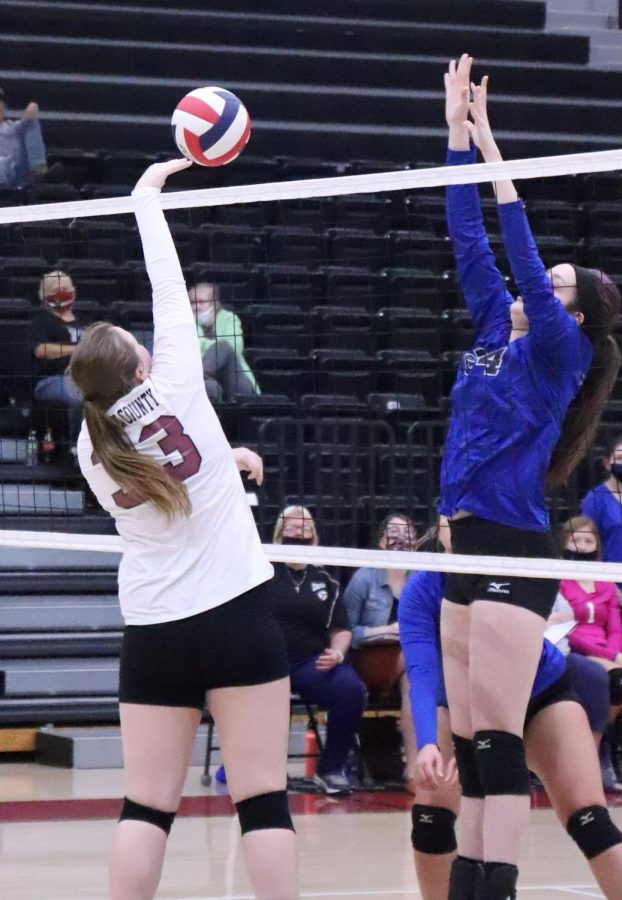 Harlan+County%27s+Lindsey+Browning+went+to+the+net+for+a+point+in+action+Tuesday+against+visiting+Letcher+Central.+The+Lady+Cougars+won+in+three+sets.