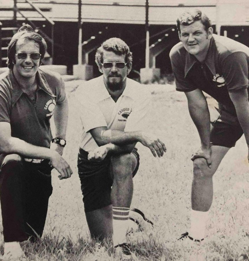 Johnny Mills (center) is pictured with former Cawood coach Boyd Fox (left) and former assistant Gary Hackler.