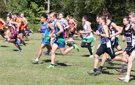 Runners left the starting line at the Black Bear Invitational on Saturday. Harlan County senior Caleb Brock was the individual winner with a time of 18:07.12. North Laurel edged HCHS for the team championship.