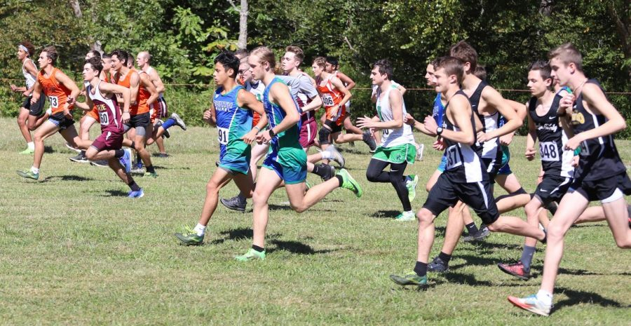 Runners+left+the+starting+line+at+the+Black+Bear+Invitational+on+Saturday.+Harlan+County+senior+Caleb+Brock+was+the+individual+winner+with+a+time+of+18%3A07.12.+North+Laurel+edged+HCHS+for+the+team+championship.