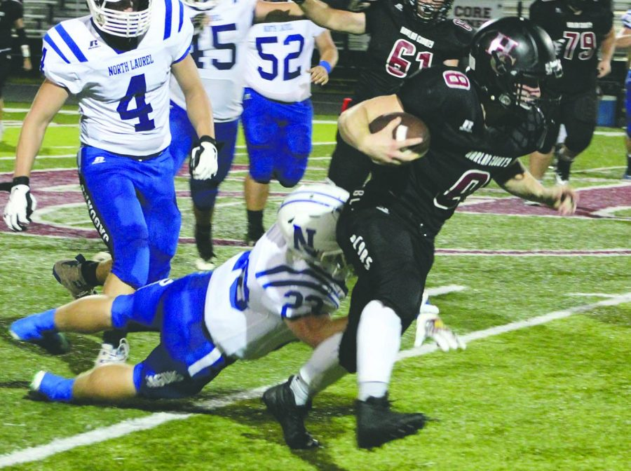 Matt Brown, pictured in action earlier in his career, was Harlan County's leader in receiving yardage last season. Brown has been sidelined with a knee injury.
