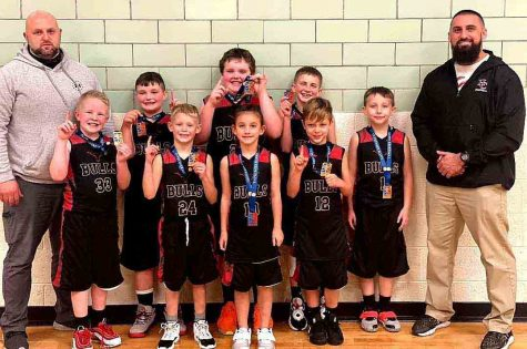 The Bulls, a local AAU team for second- and third-graders, won its third tournament of the season on Saturday in Bluff City, Tenn and improved to 23-10 overall. The Bulls knocked off the Bluff City Patriots 20-16 in the semifinals and defeated the Bristol Defenders 20-12 in the championship game. Team members include, from left, front row: Rayce Bryant, Natalie Creech and Sam Carmical; back row: coach Jason Sanders, Blake Johnson, Carson Sanders, Adrian Fields, Trey Creech, Asher Ewing and coach Eddie Creech.