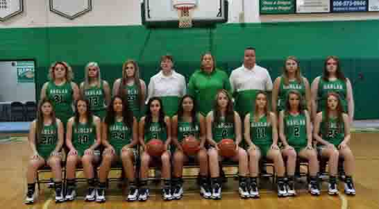 Harlan Lady Dragons Team members include, from left, front row: Emma Owens, Peighton Jones, Aymanni Wynn, Angel Wynn, Alli Thompson, Kaylee Leslie, Faith Hoskins, Scarlett Rowe and Abbie Jones; back row: Carli Jo Kennedy, Kaylee Clark, Carly Madden, coach Amanda Vance, coach Tiffany Hamm, coach Chris Morgan, Annie Hoskins and Abbi Fields.