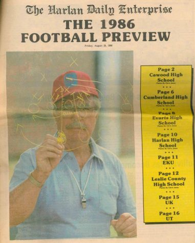 Cawood coach Jim Cullivan is pictured on the cover of the Harlan Daily Enterprise football preview in 1986 after earning state coach of the year honors for leading the Trojans to an undefeated regular season in 1985. The Trojans were also unbeaten in the 1982 regular season. Cullivan posted a 66-28 record from 1980 to 1988.