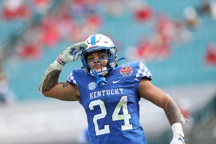 Chris Rodriguez scored a pair of touchdowns in Kentucky's win over North Carolina State in the TaxSlayer Gator Bowl on Saturday in Jacksonville.