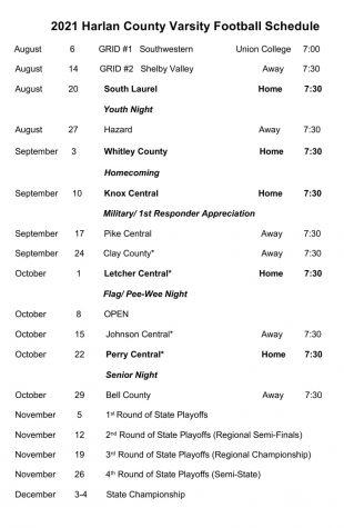 HCHS 2021 football schedule