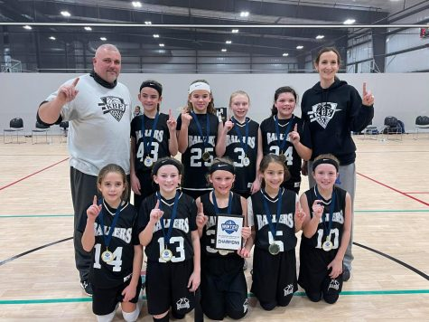 The KBE Ballers won the 10-under division at the Bluegrass Sportsplex Winter Showcase Championship over the weekend in Elizabethtown. The team defeated East Red 27-7, GC Grizzlies 37-13 and the Bruins 42-0 before downing Mean Green 25-13 in the championship game. Team members include, from left, front row: Addy Murray, Reagan Clem, Carmen Thomas, Ella Root and Jaycee Simpson; back row: coach Mitchell Madden, Jaylee Cochran, Olivia Hatfield, Jason Philpot, Laylee Phillips and coach Dana Root. Cochran, Clem and Simpson attend Rosspoint and Thomas attends James A. Cawood.