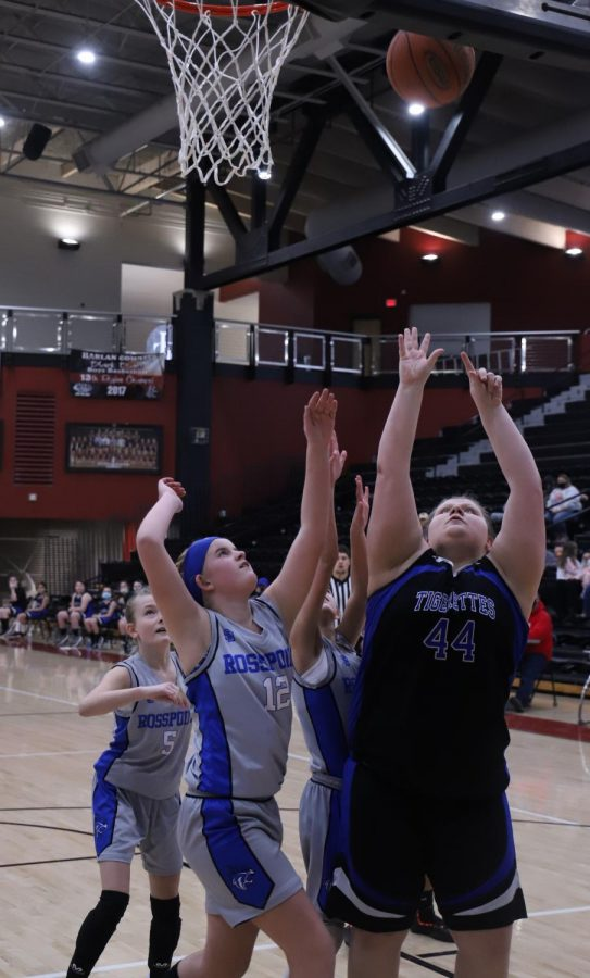 Black Mountain's Julia Vick went up for a shot on Saturday in the county tournament finals as Rosspoint's Shasta Brackett defended.