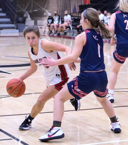 Freshman guard Ella Karst drove around a Knott Central defender. Karst scored 19 in a loss at Perry Central on Monday.