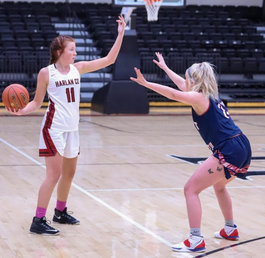 Senior guard Jacey Lewis set up a play against Knott Central on Saturday. Lewis led the Lady Bears with 11 points in a 66-42 loss.