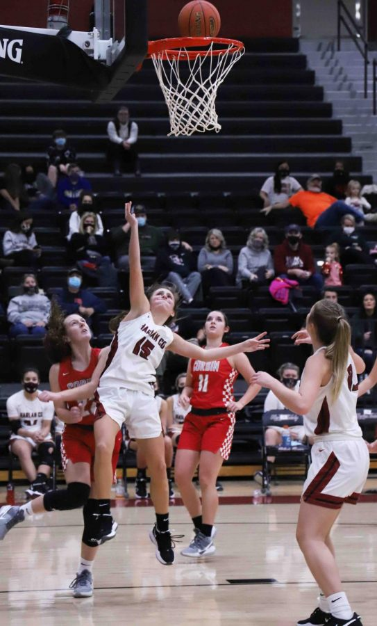 Harlan County guard Ella Karst, pictured in action Monday against Corbin, scored 18 points on Thursday in the Lady Bears' 41-37 victory at Hazard.