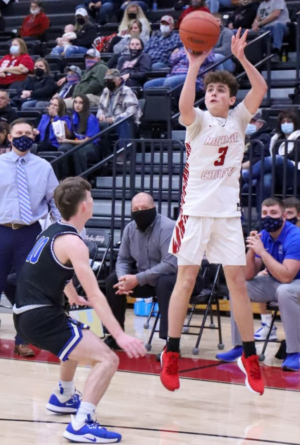 Harlan County eighth-grader Maddox Huff put a shot in Tuesday's game against visiting Bell County. Huff scored 16 in the Bears' victory Thursday at Lafayette.