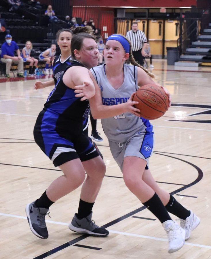 Rosspoint's Shasta Brackett powered her way to the basket in Saturday's county championship game. Brackett scored nine points in Rosspoint's 30-23 victory.