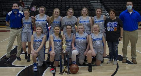 The Rosspoint Lady Cats claimed the county seventh- and eighth-grade championship Saturday with a 45-30 victory over Evarts. Team members include, from left, front row: Addison Gray, Braylee Engle, Sophie Day, Lindsey Skidmore and Aubrey Hensley; back row: head coach Rob McHargue, Peyton Lunsford, Kaitlyn Daniels, Brianna Howard, Sienna Cox, Serissa Cox, Harleigh Vanover, bookkeeper Kim Hensley and assistant coach John Simpson.