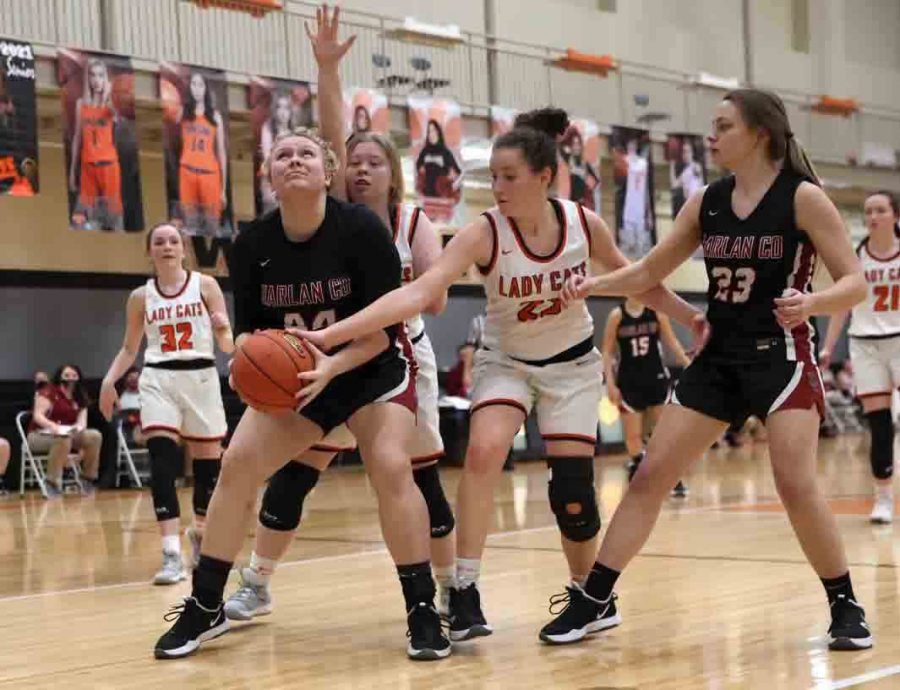 Harlan County sophomore center Taylor Lunsford worked inside for a shot against Lynn Camp on Monday. The Lady Bears improved to 7-8 on the season with a 72-48 win.