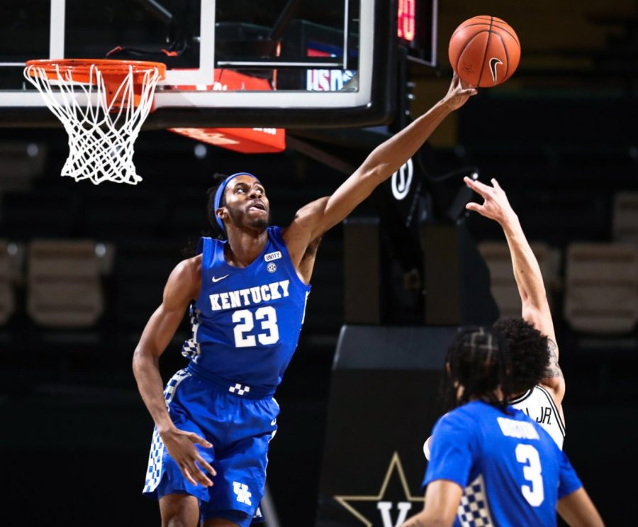 Isaiah Jackson went up for a block in the first half of Kentucky's 82-78 win over Vanderbilt on Wednesday night in Nashville.