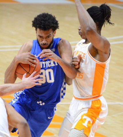 Olivier Sarr muscled his way to the basket in a win over Tennessee on Saturday in Knoxville. Sarr finished with 10 points.