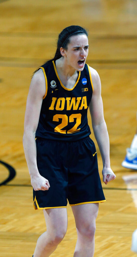 Iowa guard Caitlin Clark (22) reacted after hitting a 3-pointer during the first half of a game in the second round of the women's NCAA Tournament at the Greehey Arena in San Antonio, Texas.