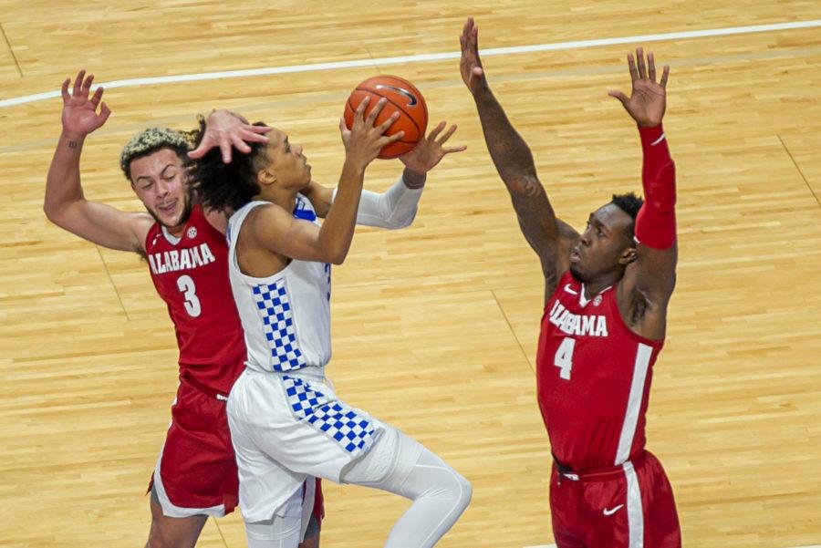 Kentucky's Brandon Boston Jr. was fouled going to the basket against Alabama on Jan. 12.