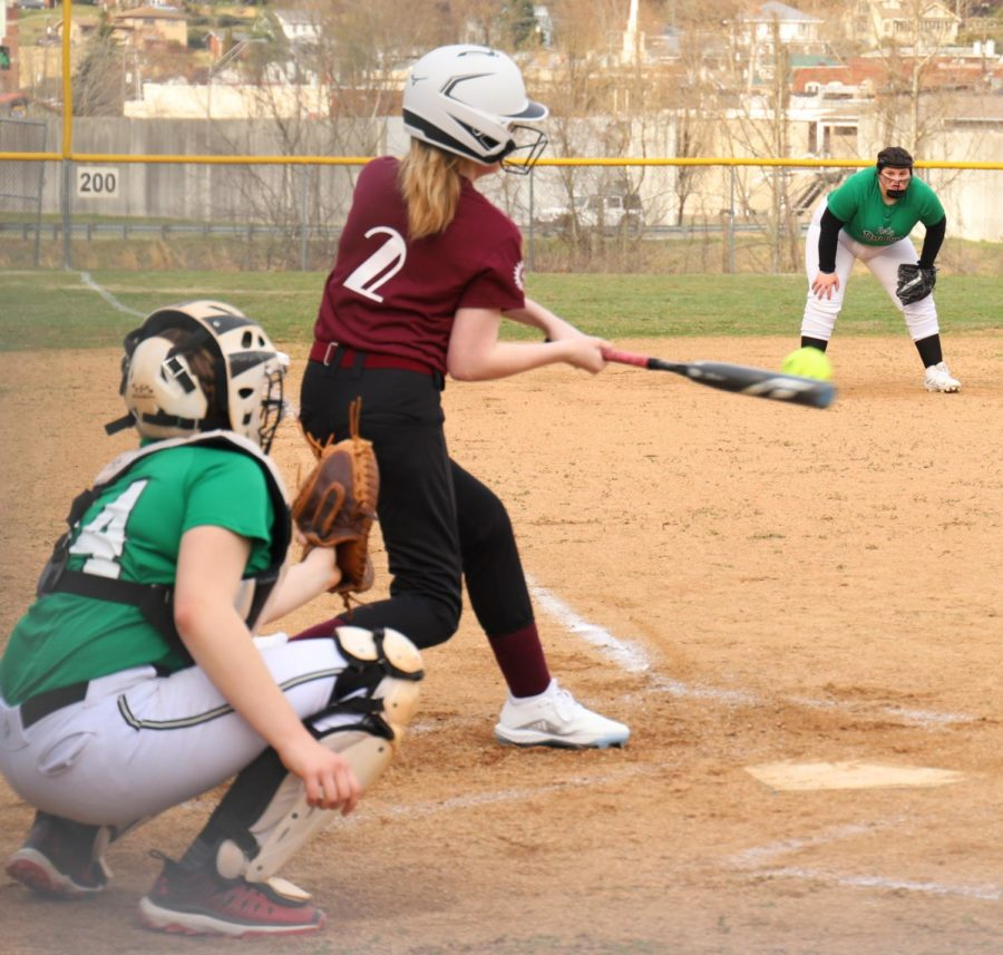 Cumberland%27s+Aviya+Halcomb+connected+on+a+pitch+in+recent+middle+school+softball+action.+The+Lady+Skins+fell+11-10+to+Bell+County+on+Tuesday.