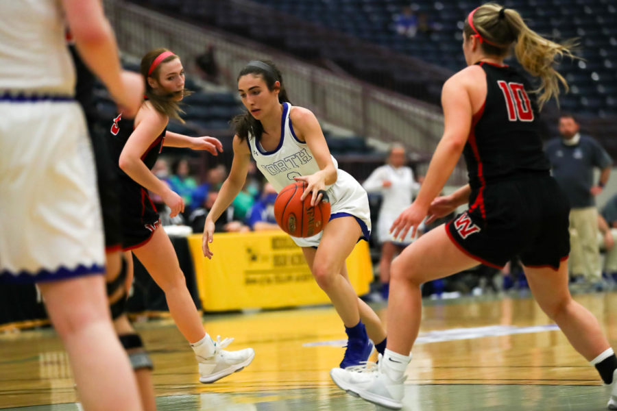 Junior+guard+Hailee+Valentine+scored+20+points+as+North+Laurel+rolled+past+Whitley+County+80-45+on+Wednesday+in+the+opening+round+of+the+13th+Region+Tournament.
