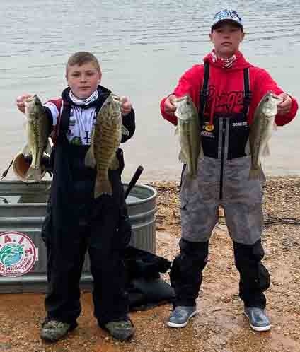 Landon Brock (left) and Hunter Napier won the Bass Master junior division on Norris Lake on Saturday as members of the Harlan County High School fishing team.