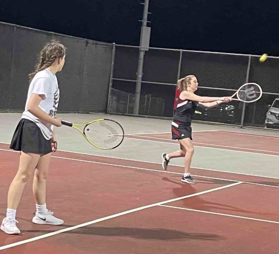 Lindsay+Hall+and+Abigail+Gaw+were+winners+on+Monday+in+a+doubles+match+against+Barbourville+at+Union+College.+Both+HCHS+teams+claimed+their+first+victories+of+the+season.