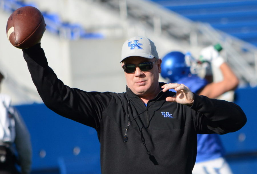 Kentucky coach Mark Stoops and the Wildcats open spring practice Tuesday.